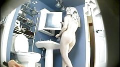 Classic curvy teen spied naked after shower