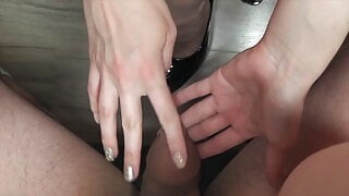 Girl play with foreskin