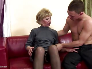 Mature sex son Lovely mother gets anal sex and pissing from son