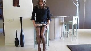 Lara in seamed stockings
