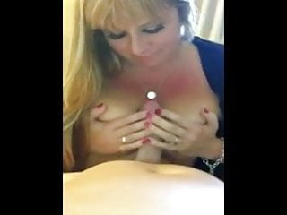 Hot horny milf sucks for cum - Big tits milf sucks for cum