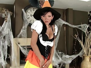 Halloween havok bondage video - Brunette in fishnets and stilettos for halloween