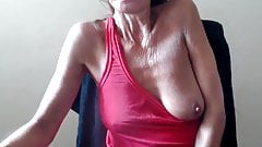 Granny show saggy tits