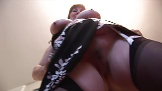 Busty granny with hairy pussy works out