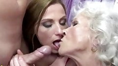 Granny 75yo, woman 35yo and man in bisexual threesome