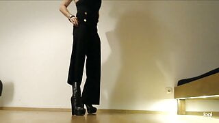 Sissy Bitch in black Buffalo Boots and Jumpsuit