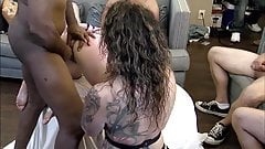 Handcuffed MILF gets her tight pussy drilled in home orgy