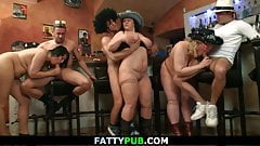 Hot big tits group orgy in the bar