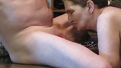 dinner time at kitchen table sucking me some cock & cum