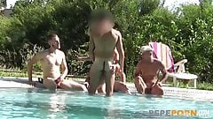 Lydia gets 5 dudes hot by the pool