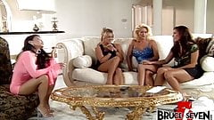 Four busty lesbian Milfs stretching ass and pussy with toys