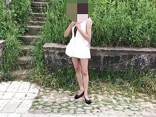 Naked bitch walking around video - Public flashing walking around in my white outfit-skysexfree