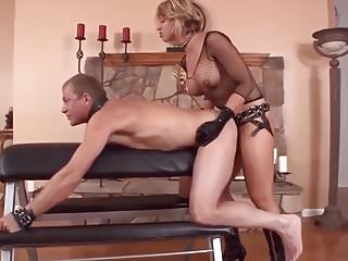 First fuck her strap - Blonde mistress strap on fuck her slave hard