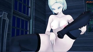 Android 18 pleasures herself until she orgasms. Dragon Ball.