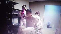 3 young girls and one guy doing gentle BDSM and some lesbian