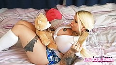 Aviva Rocks - Girl with hugh titts playing with a teddy-bear
