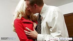Beautiful babe in the office gets fucked