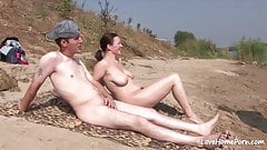 Doggy style for a chick on a beach.mp4