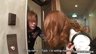Attractive Japanese saleswoman gets gangbanged and creampied
