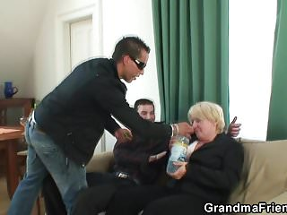 Xxx granma pic - Boozed blonde granma is double fucked
