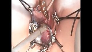 Pierced slave with pussy piercings, electric play