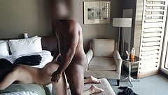 Taking black daddy BBC doggy in hotel room