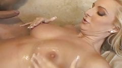 Beautiful busty blonde girl fucked on the sofa