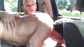Swallowing cum in the car