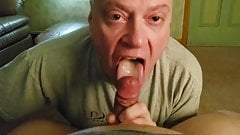 Nice bald older daddy sucking his friend's dick -1