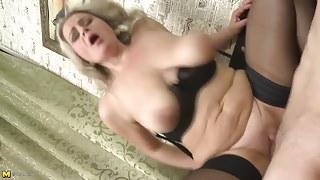 StepMom with big saggy tits gets taboo sex