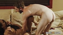 Hot ebony banged by a bartender in the middle of the night