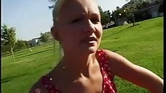 Small tits blonde ends up with a big cock up both ends