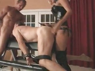 Male bondage cocksuck - Dominate couple using submissive male