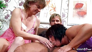 Two German Mature Tricked Young Boy to FFM Threesome Sex