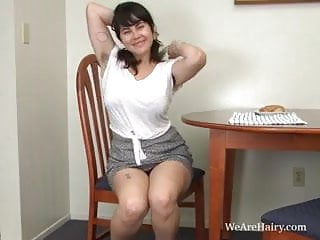 Cleo realm 4 adults Cleo masturbates hairy pussy during breakfast