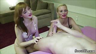 German Step Mom Teach Step-Daughter to Fuck and Join in 3some