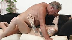 Dark haired slut with tattoos gets fucked by her grandpa