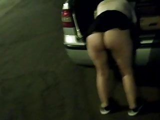 Lingerie rack to display bras - Wife displays shows micro thong on the road at night