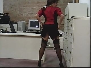 Hot chick strips then gets fucked - Insatibale office chick strips and gets kinky toy fucked