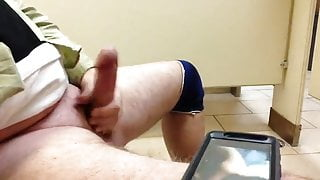 Jerking Off to Porn in the Hotel Washroom Need a JO Buddy