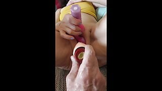 Mature Asian with two vibrators