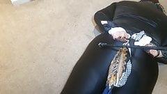 Black Satin Blouse and Shiny leggings Bondage