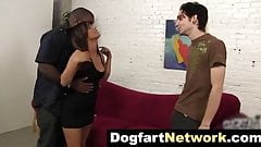 Stupid cuckold watch his young wife inseminated by black