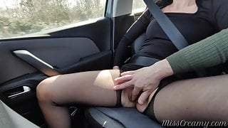 Fingering teacher's pussy in the car while driving – Squirting
