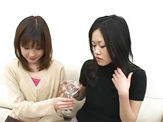 Glasses girl sexy - Two sexy japanese girls spit in a glass and...