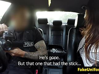 Busty cop pic Uk cops trio outdoors with busty babe pov