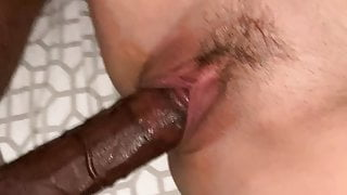 Close up of bbc in her tight Pussy with cumshot explosion