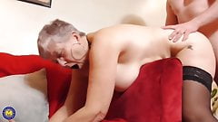 Busty granny make a warm visit for boy