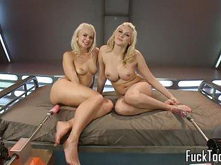 Lesbian vibrator machines Blonde lesbians share vibrator before toying