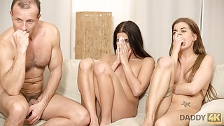 DADDY4K. Amazing sex action of older stepdad and two young